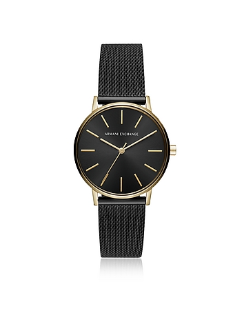 Armani Exchange Lola Gold and Black Mesh Women's Watch