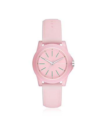 Armani Exchange Lady Banks Pink Silicone Women's Watch