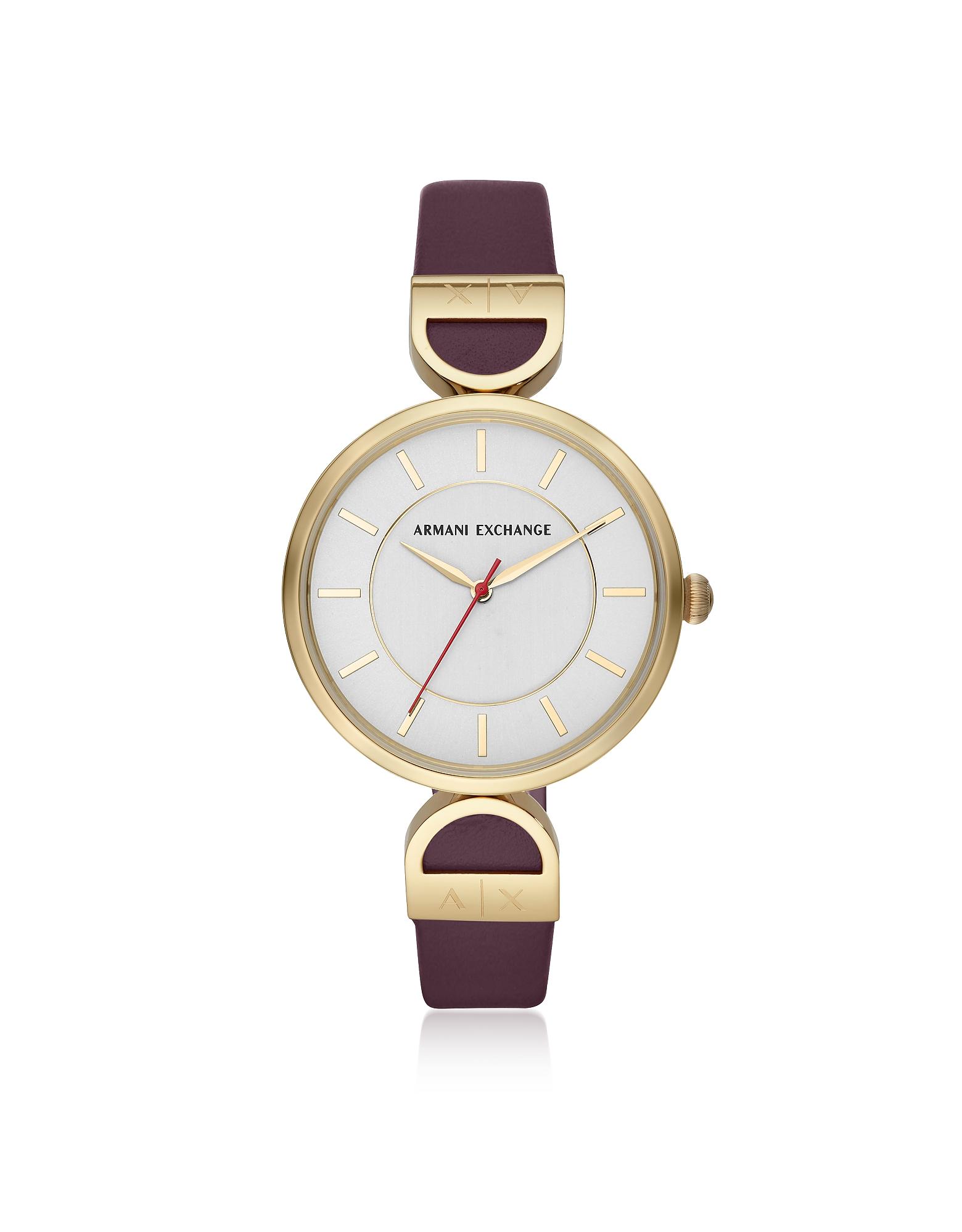 Armani Exchange Women's Watches, Brooke Gold Tone Aubergine Women's Watch