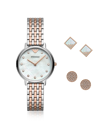 Two-Tone Kappa Watch and Earring Set