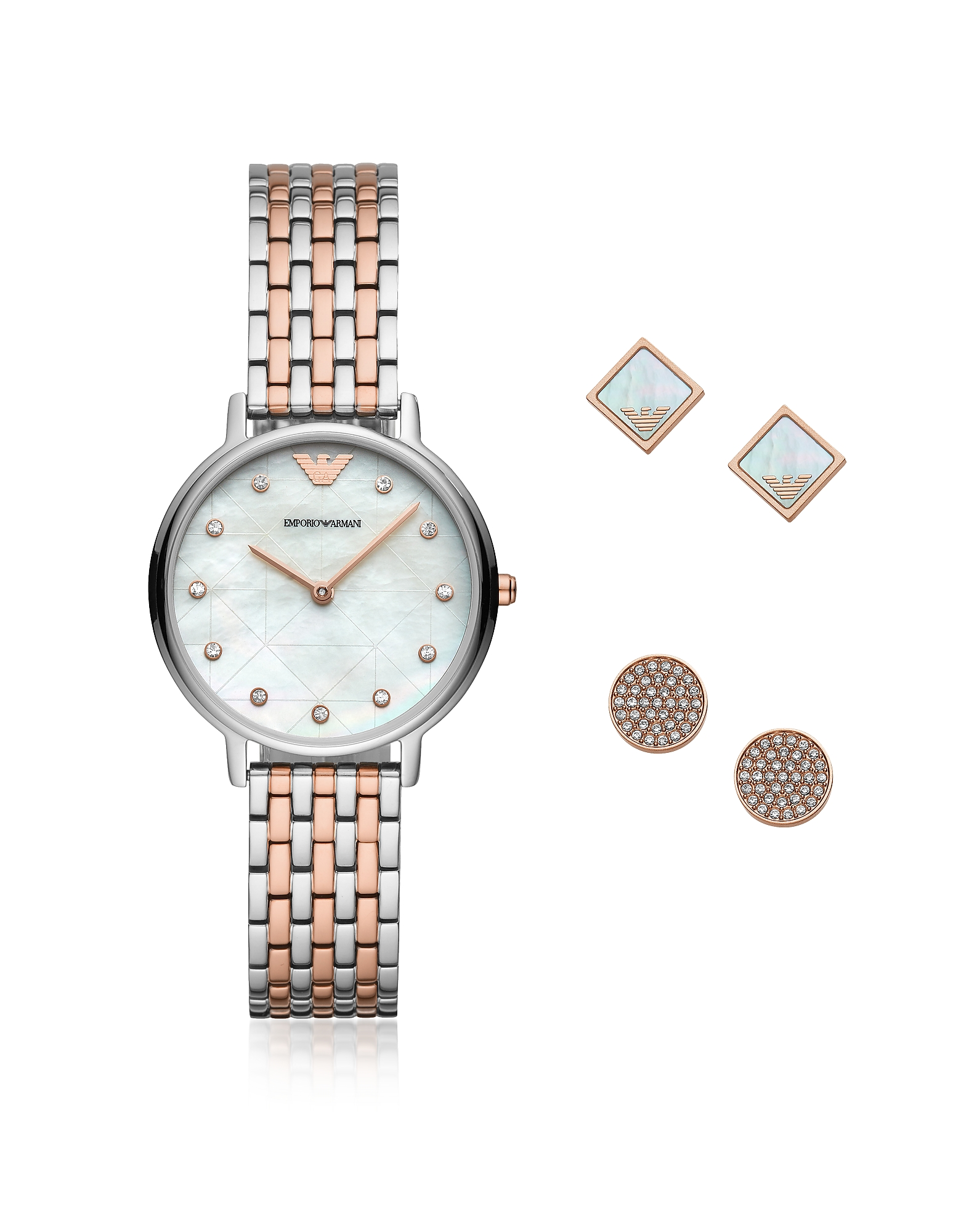 Emporio Armani Designer Women's Watches, Two-Tone Kappa Watch and Earring Set