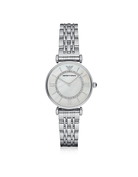Emporio Armani T-Bar Silvertone Stainless Steel Womens Watch w Mother of Pearl and Crystals Dial