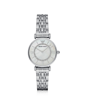 Emporio Armani - T-Bar Silvertone Stainless Steel Women's Watch w/Mother of Pearl and Crystals Dial