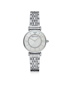 T-Bar Silvertone Stainless Steel Women's Watch w/Mother of Pearl and Crystals Dial - Emporio Armani