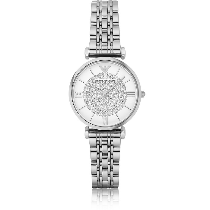 T-Bar Silvertone Stainless Steel Women's Watch w/Crystals Dial - Emporio Armani