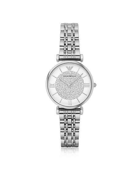 Emporio Armani T-Bar Silvertone Stainless Steel Womens Watch w Crystals Dial