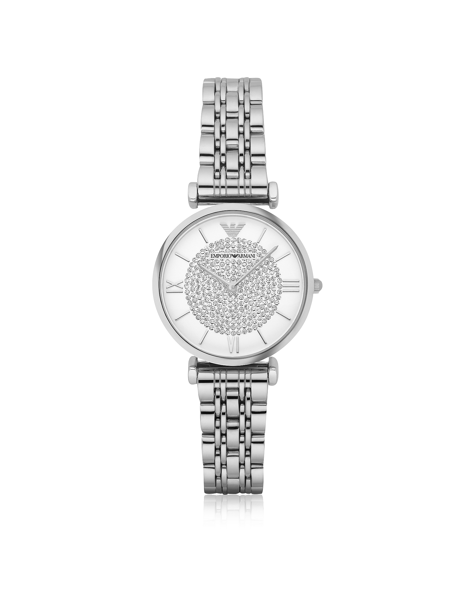 Emporio Armani Women's Watches, T-Bar Silvertone Stainless Steel Women's Watch w/Crystals Dial