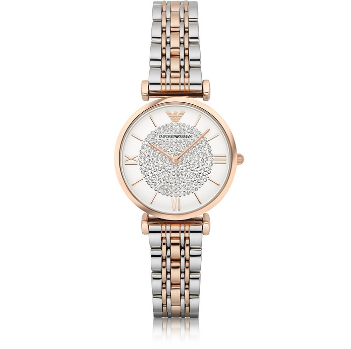 T-Bar Two Tone Stainless Steel Women's Watch w/Crystals Dial - Emporio Armani