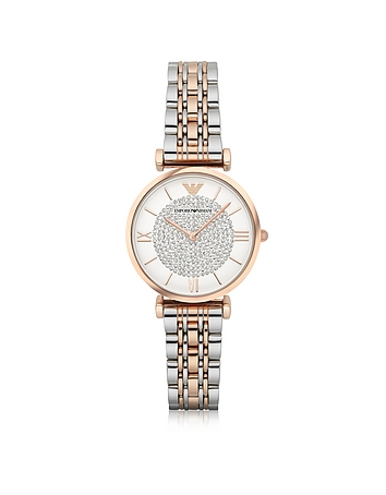 Emporio Armani - T-Bar Two Tone Stainless Steel Women's Watch w/Crystals Dial