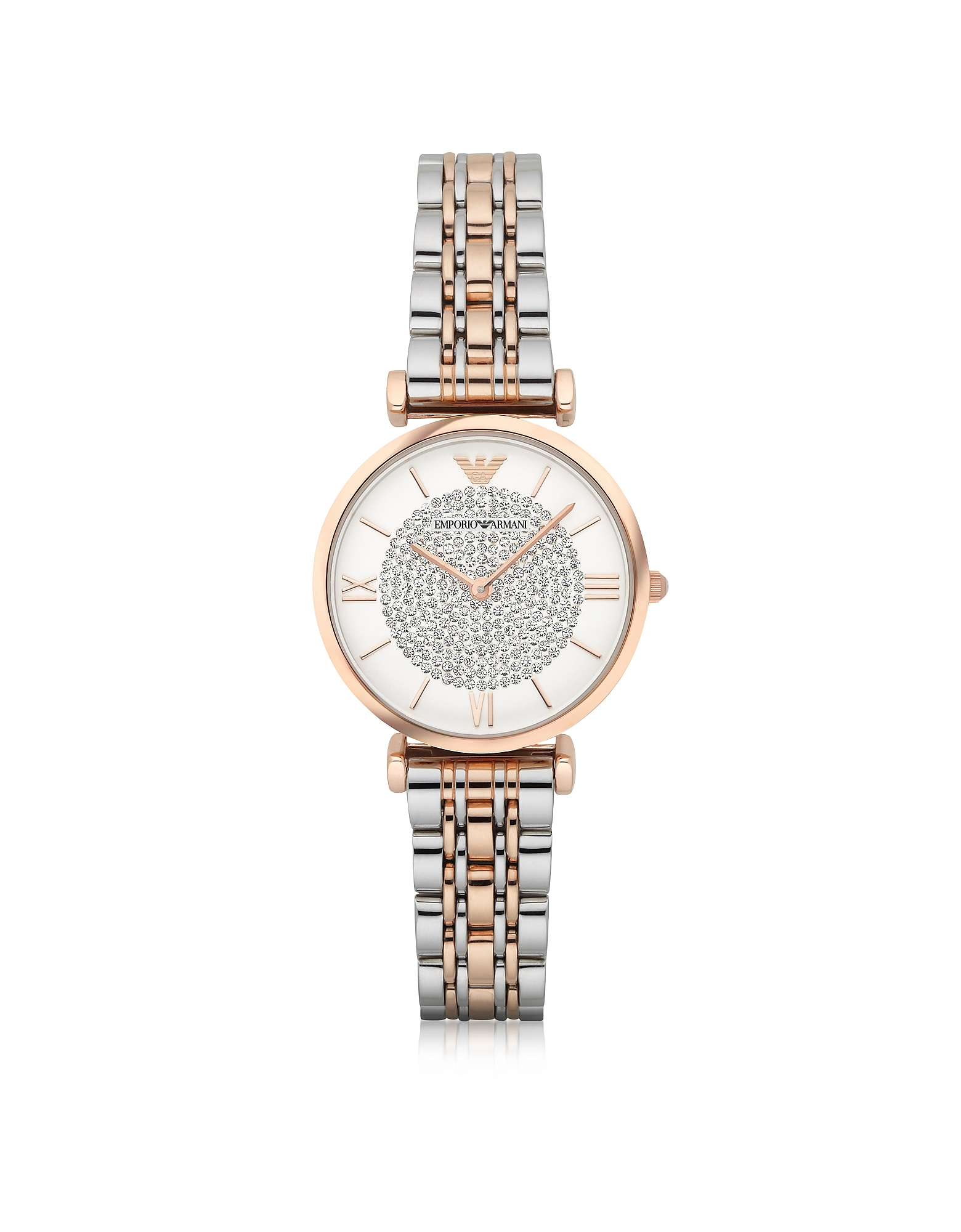 Emporio Armani Women's Watches, T-Bar Two Tone Stainless Steel Women's Watch w/Crystals Dial