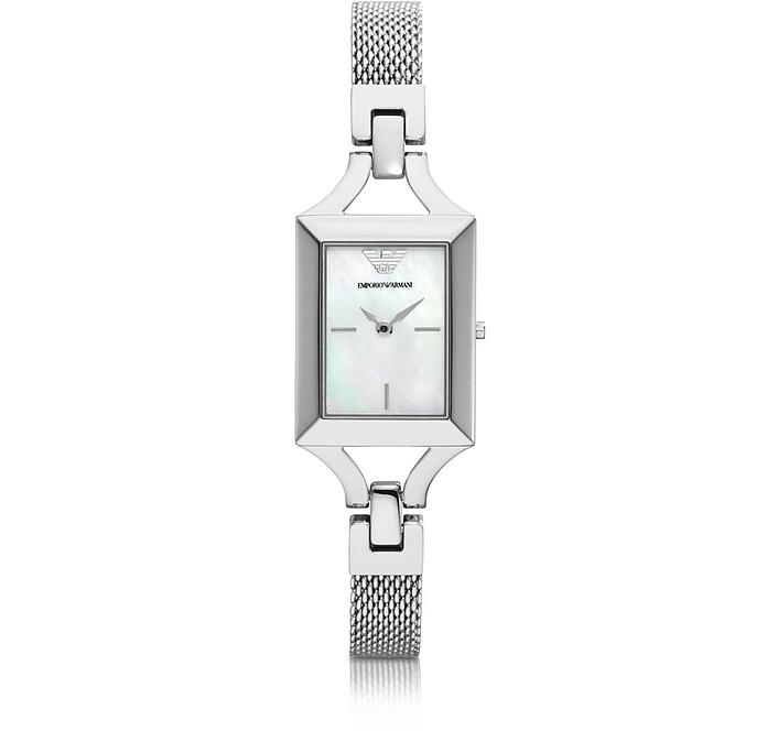 Classic Rectangular Stainless Steel Women's Watch - Emporio Armani