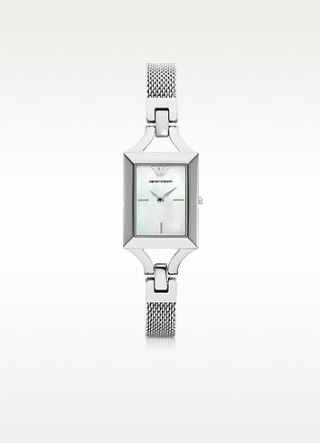 Classic Rectangular Stainless Steel Women's Watch - Emporio Armani