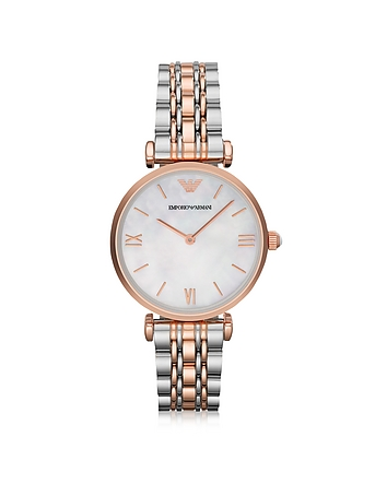 Emporio Armani - White Mother-of-Pearl Dial Stainless Steel and Rose Gold-tone Women's Watch