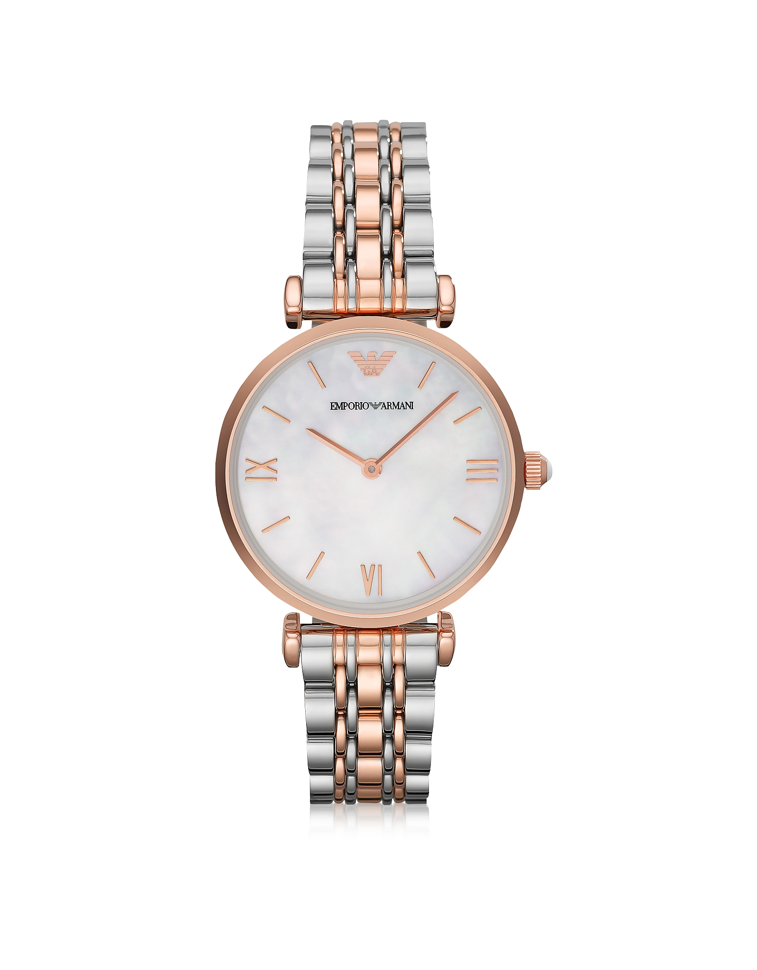 White Mother-of-Pearl Dial Stainless Steel and Rose Gold-tone Women's Watch от Forzieri.com INT