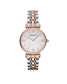 White Mother-of-Pearl Dial Stainless Steel and Rose Gold-tone Women's Watch - Emporio Armani