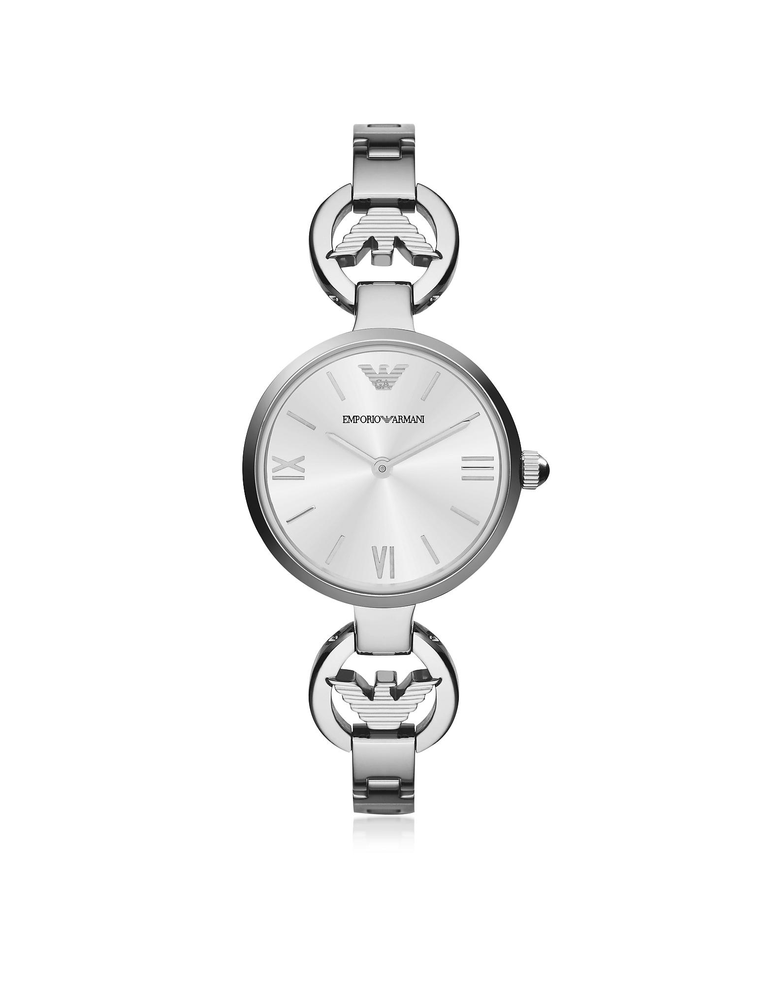 Женские Часы из Нержавеющей Стали с Белым Перламутровым Циферблатом и Логотипом