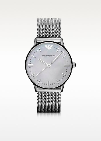 Classic - Mesh Band Mother-of-Pearl Dial Watch - Emporio Armani