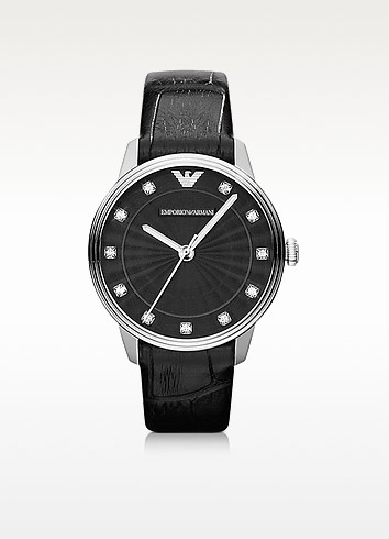 Classic - Black Leather Crystal Dial Watch - Emporio Armani