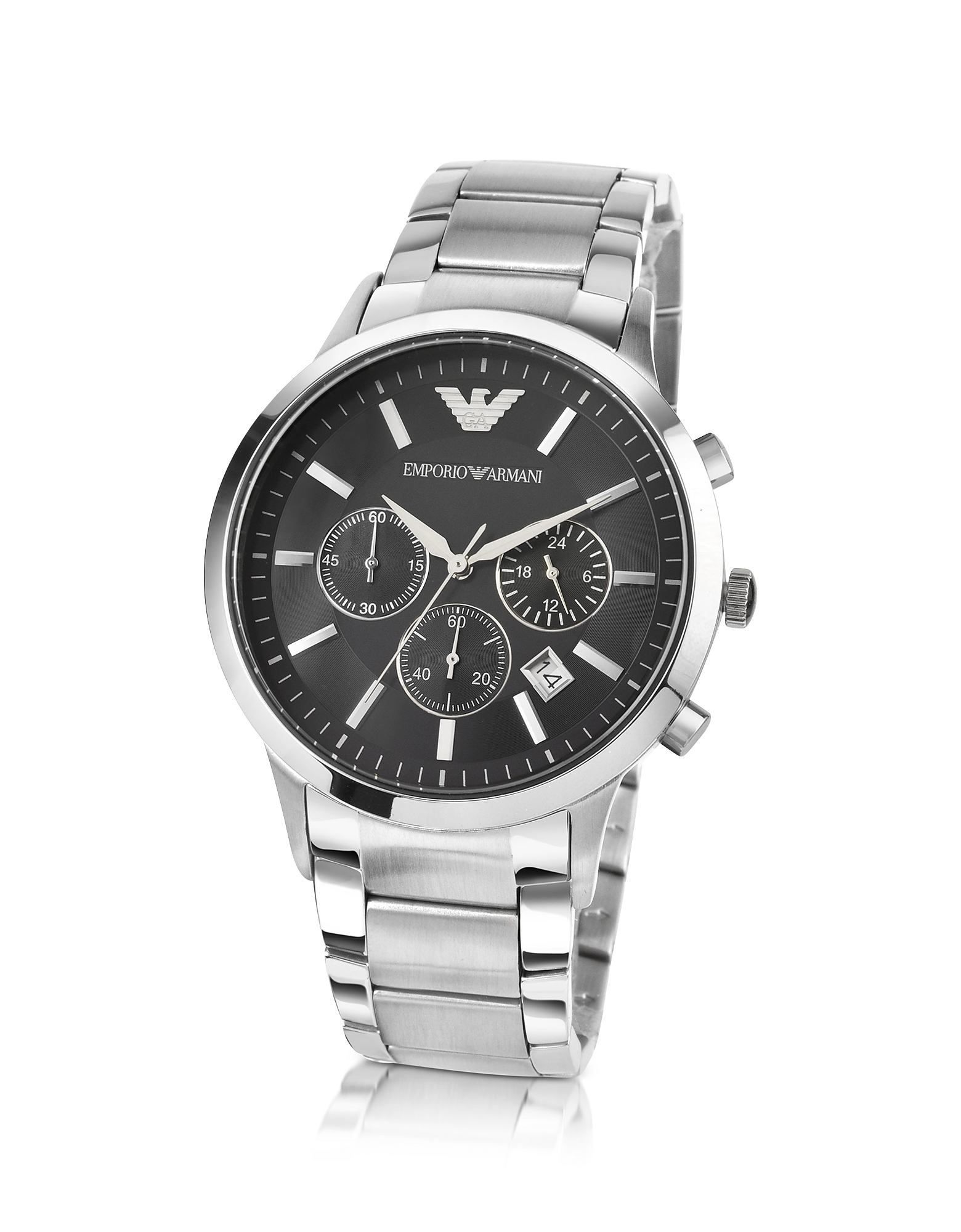 Emporio Armani Men's Watches, Men's Black Dial Stainless Steel Chrono Watch