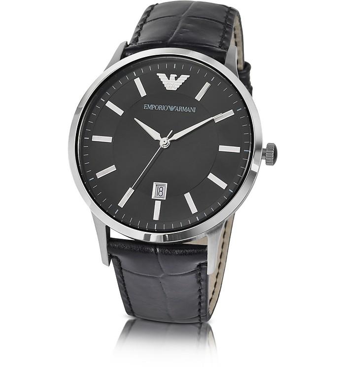 emporio armani herren armbanduhr aus edelstahl mit. Black Bedroom Furniture Sets. Home Design Ideas