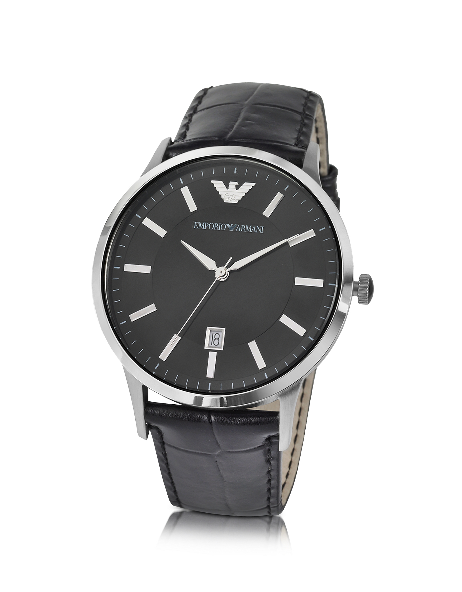 Emporio Armani Men's Watches, Men's Black Dial Stainless Steel Date Watch