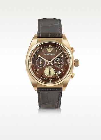 Franco - Men's Croco-Embossed Leather Strap Dress Watch - Emporio Armani