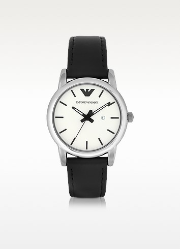 Classic White Dial and Black Leather Strap Women's Watch - Emporio Armani
