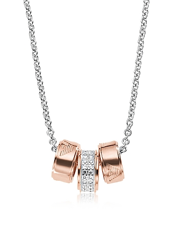Emporio Armani - Heritage Sterling Silver PVD Rose Goldtone Charms Necklace