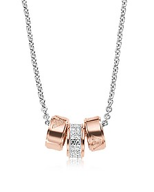 Heritage Sterling Silver PVD Rose Goldtone Charms Necklace - Emporio Armani