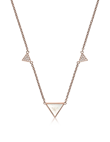 Emporio Armani - Signature Rose Goldtone Triangle Necklace