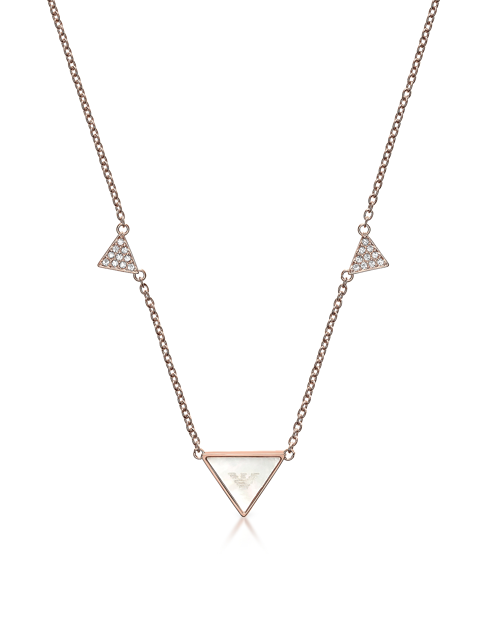 Фото Фирменное Ожерелье Оттенка Розового Золота с Треугольниками. Купить с доставкой