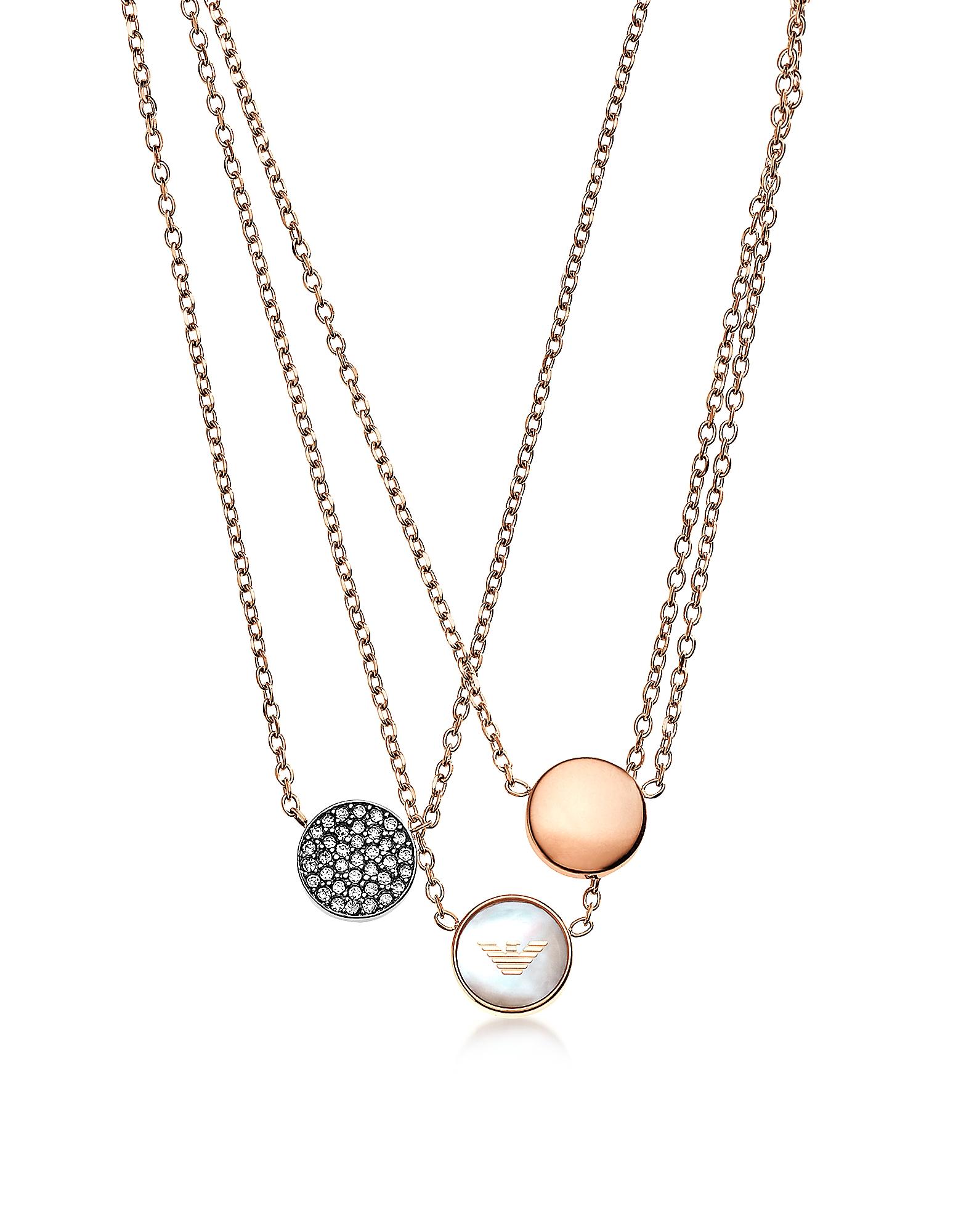 Фирменное Ожерелье Оттенка Розового Золота с Тремя Чармами