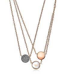 Signature Rose Goldtone Necklace w/Triple Charms - Emporio Armani