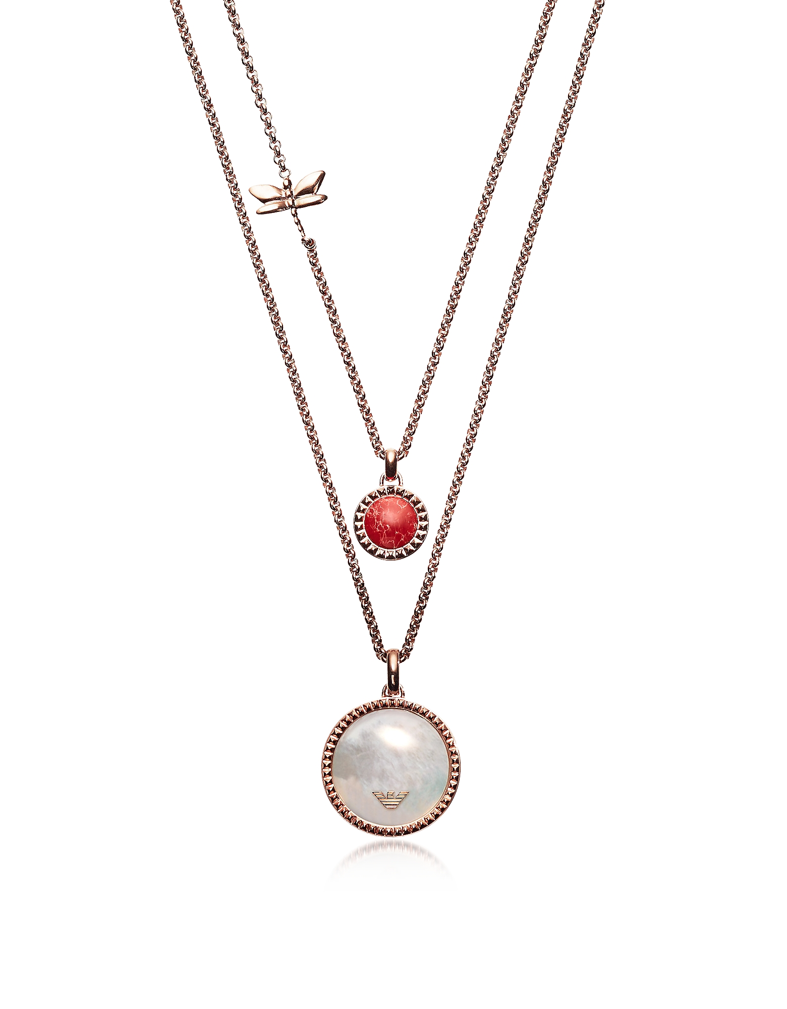 Emporio Armani  Necklaces Multi-strand Necklace with Enamel Pendants and Dragonfly