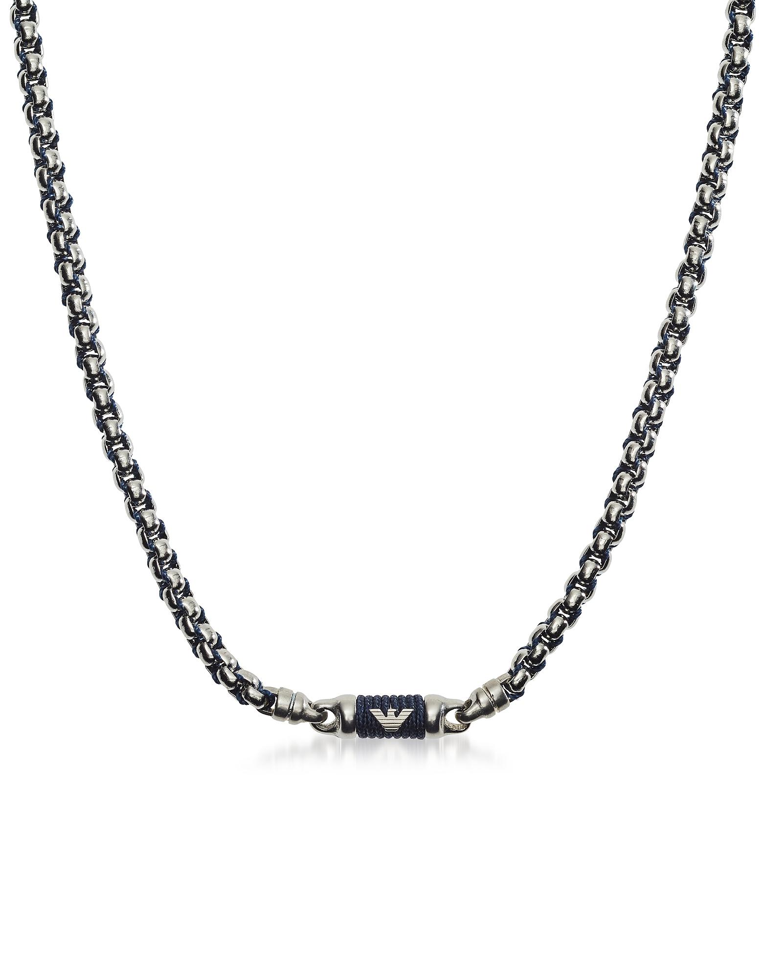 Ожерелье из Синего Нейлона и Нержавеющей Стали Emporio Armani