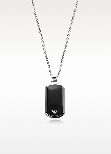 Iconic Stainless Steel w/Black Enamel Charm - Emporio Armani