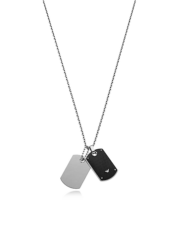 Emporio Armani - Iconic Stainless Steel And Carbon Fiber Print Men's Necklace