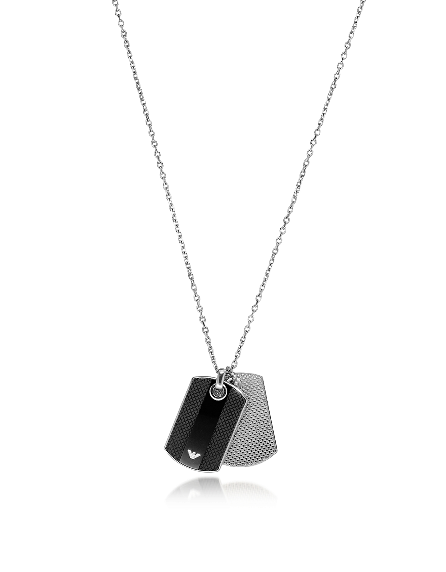 Emporio Armani Men's Necklaces, Iconic Black and Silver Stainless Steel Charm Men's Necklace