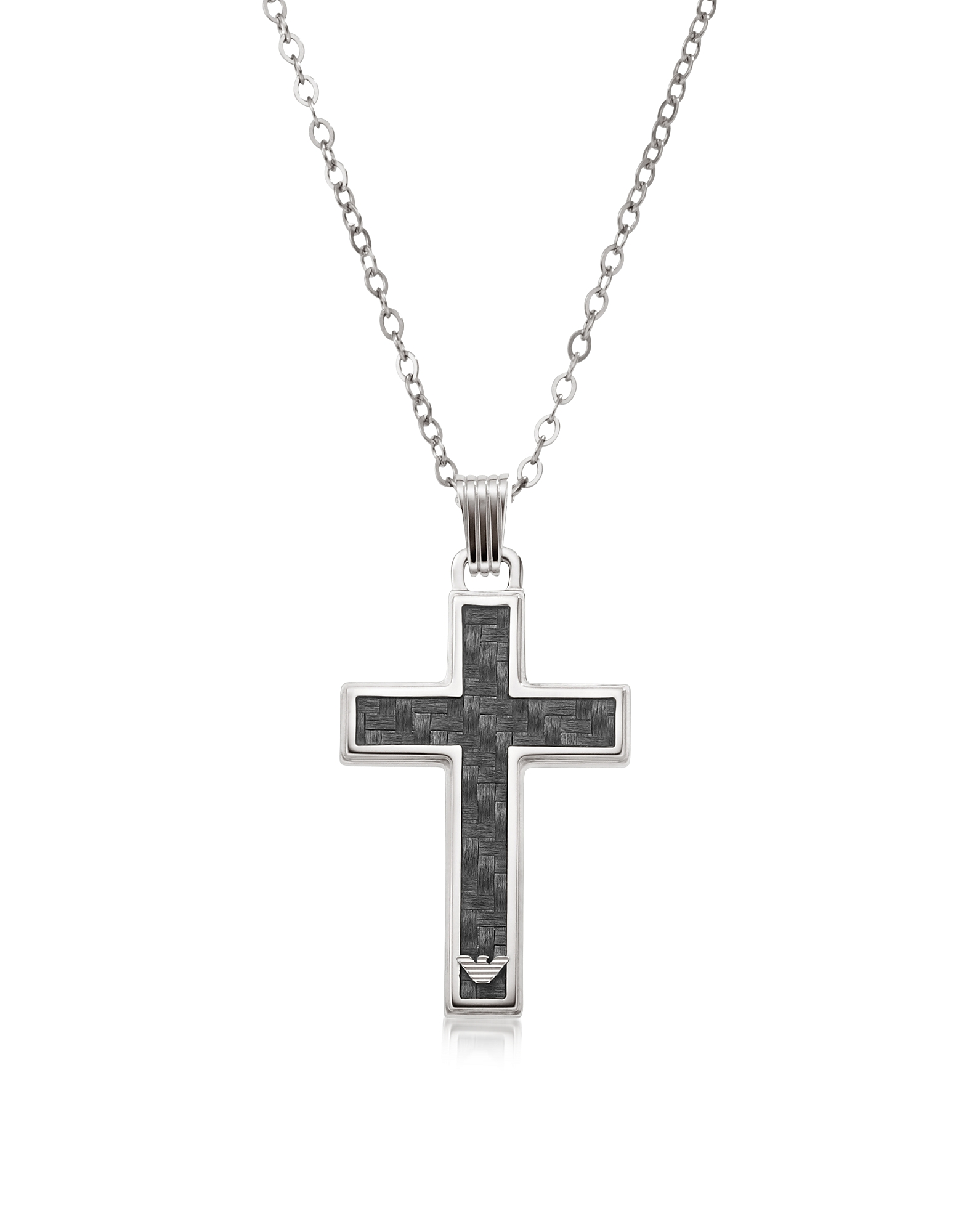 Silver Tone Stainless Steel Men's Necklace от Forzieri.com INT