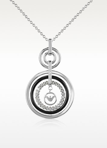 Sterling Silver and Crystals Logo Pendant Necklace - Emporio Armani