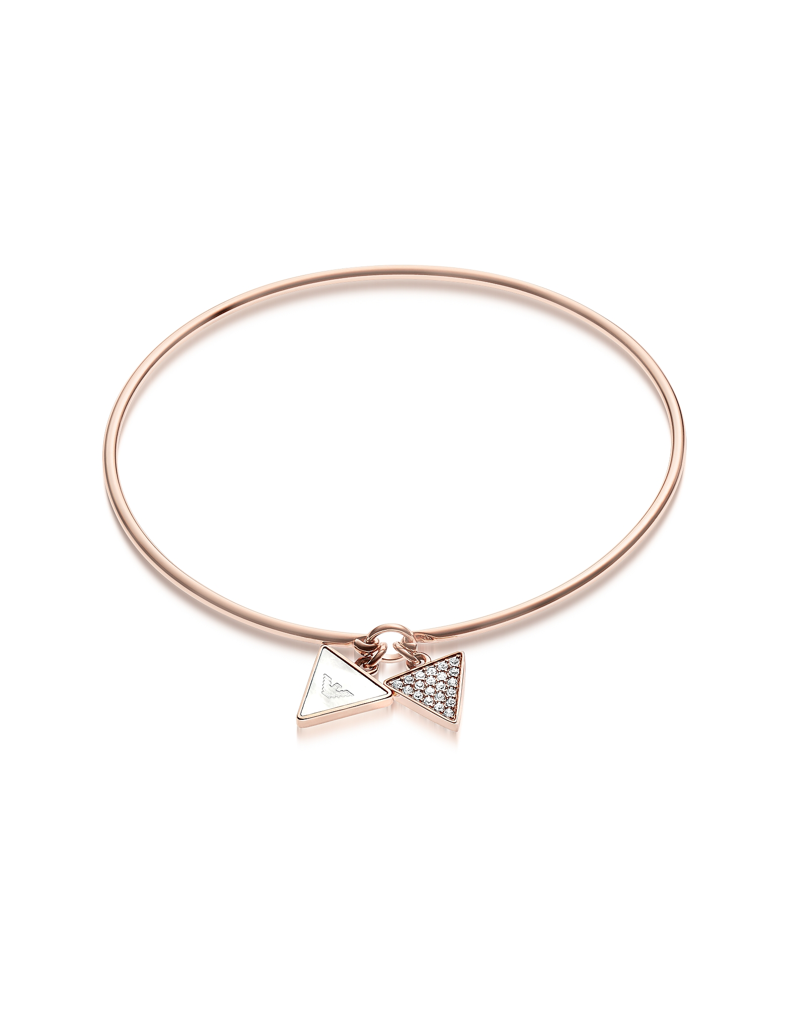 Emporio Armani Bracelets, Signature Rose Goldtone Bangle w/Double Charm
