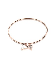 Bangle in Acciaio PVD Oro Rosa con Cristalli, Madreperla e Logo - Emporio Armani
