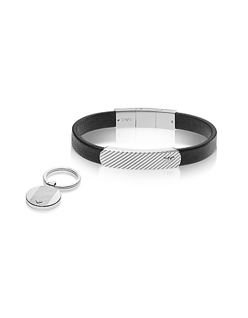 Emporio Armani - Heritage Black Leather Bracelet and Silvertone Key Ring Set