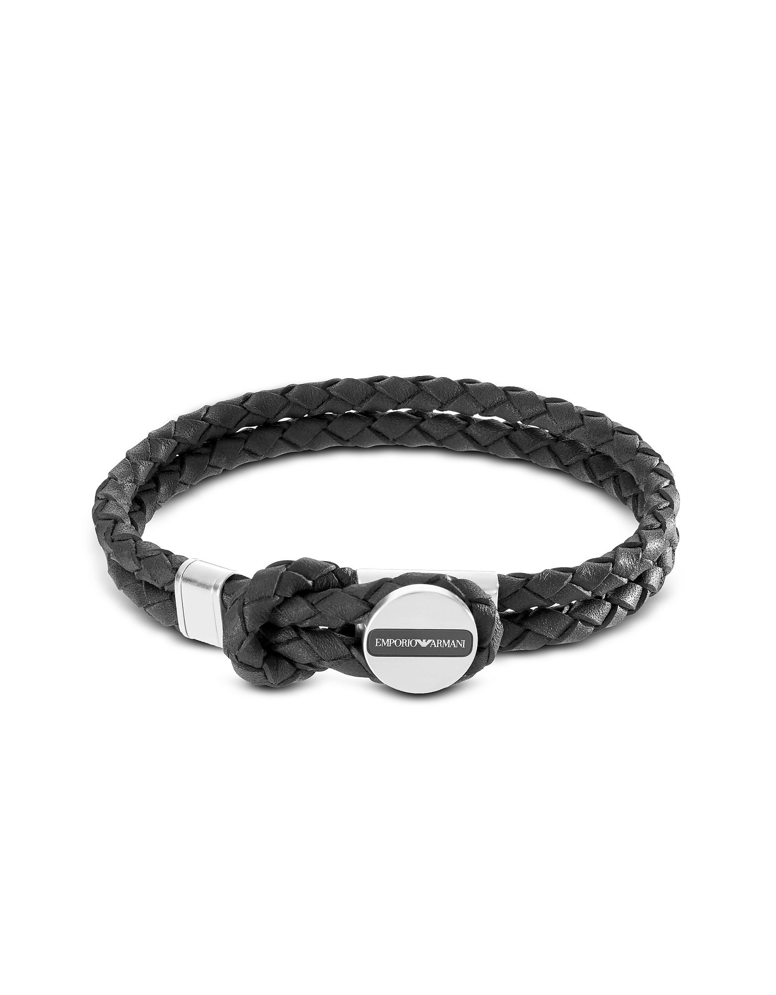 Emporio Armani Men's Bracelets, Signature Medallion and Leather Men's Bracelet
