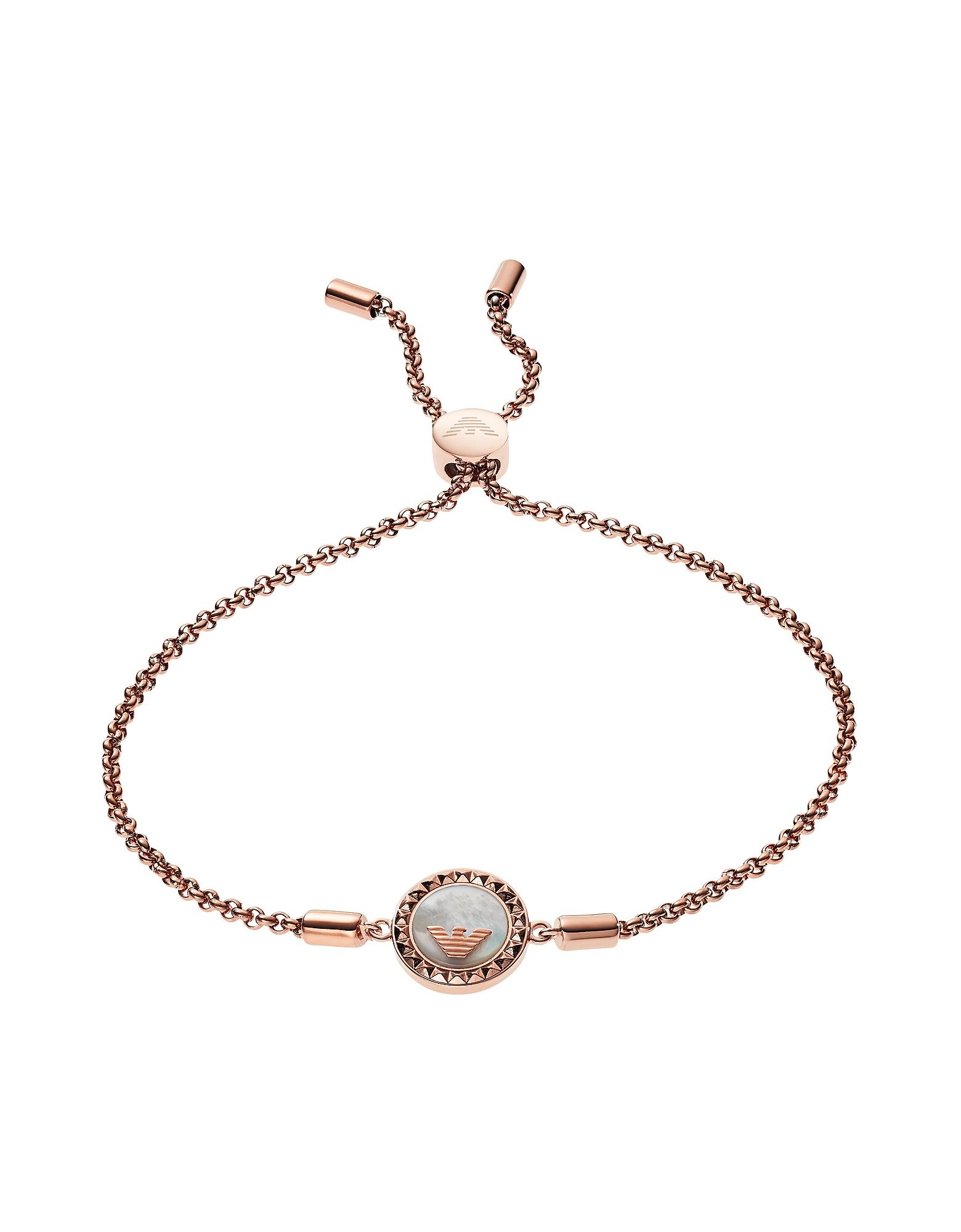 Emporio Armani Bracelets, Rose Gold Plated Sterling Silver W/Logo Charm Women's Bracelet
