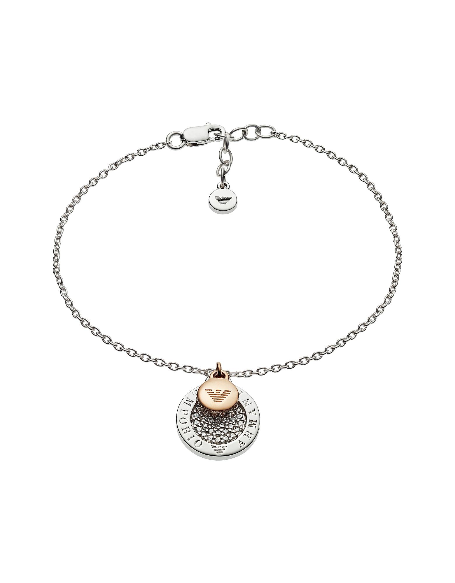 Emporio Armani Designer Bracelets, Two-Tone Signature Bracelet
