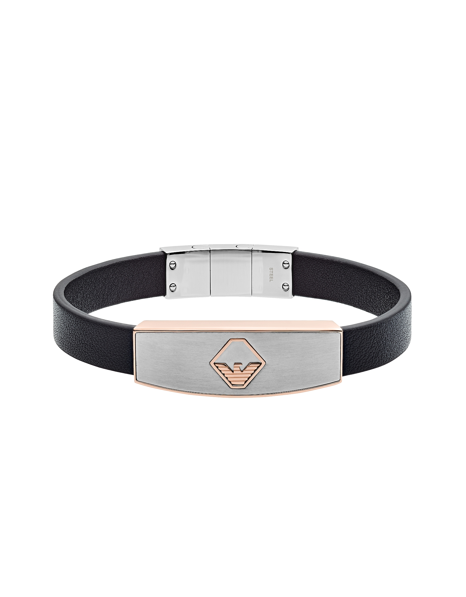 Leather Stainless Logo Bracelet