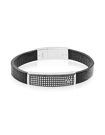 Emporio Armani - Iconic Stainless Steel And Rubber Men's Bracelet