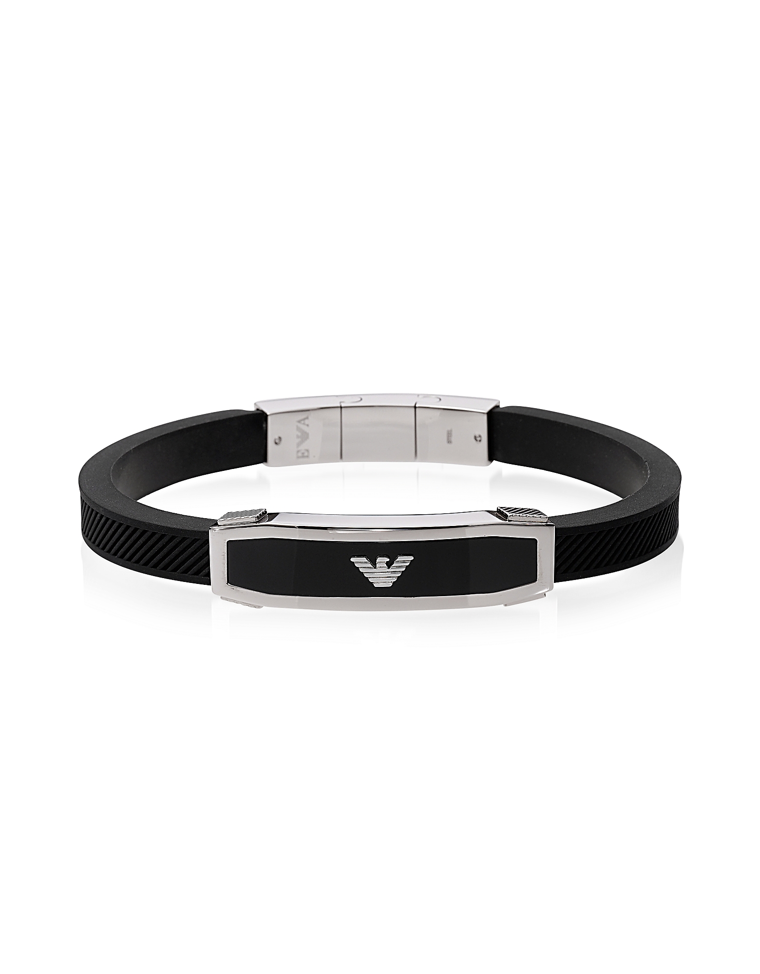 Stainless Steel and Black Rubber Men's Bracelet от Forzieri.com INT