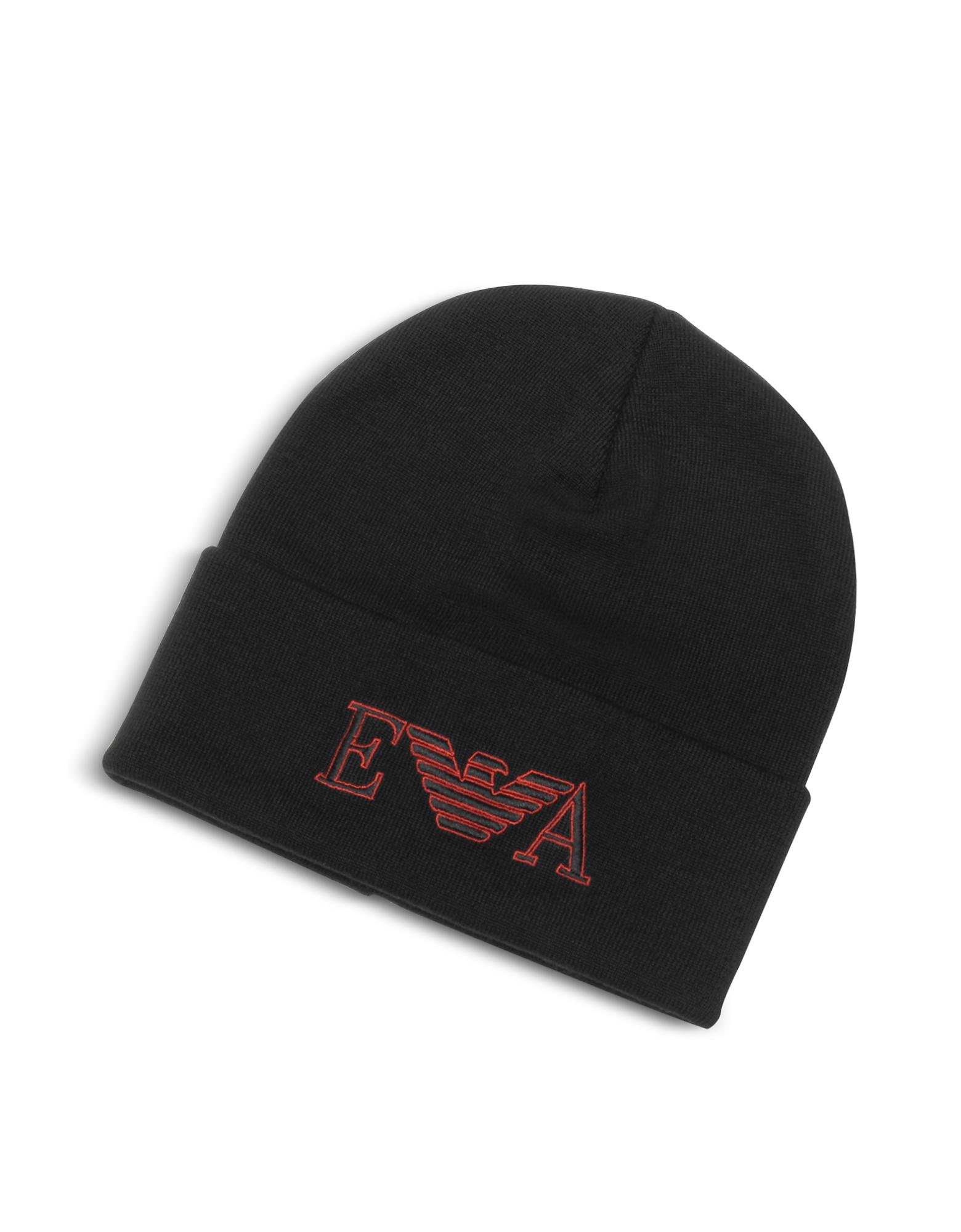 Emporio Armani Designer Men's Hats, Black EA Beanie Hat
